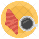 Croissant With Coffee Icon