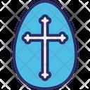 Cross On Egg Icon