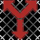 Crossroad Y Intersection Arrow Icon