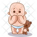 Crying Child And Teddy Icon