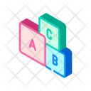 Letters Cubes Isometric Icon