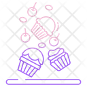 Cupcakes With Cherry And Gems Icon