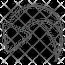 Curved Down Short Arc Arrow Arrowhead Icon