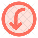 Curved left down arrow Icon