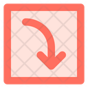 Curved right down arrow Icon