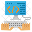 Coding Hand Monitor Icon