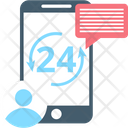 Customer Service Full Service Twenty Four Hours Icon