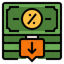 Cut Interest Rate Icon