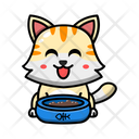 Cute Cat Eating Food Bowl Icon