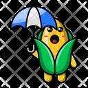 Cute Corn Holding Umbrella Corn Food Icon