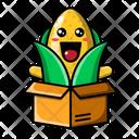 Cute Corn Inside Card Board Corn Food Icon
