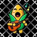 Cute Corn Playing Guitar Corn Food Icon