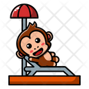 Cute Monkey Is Relaxing Icon