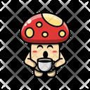 Cute Mushroom Drinking Coffee Plant Fungus Icon