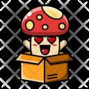 Cute Mushroom Inside Card Board Plant Fungus Icon