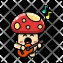 Cute Mushroom Playing Guitar Plant Fungus Icon