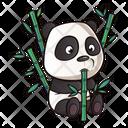Cute Panda With Bamboo Sticks Icon