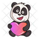 Cute panda with heart Icon