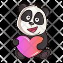Cute Panda With Heart Icon