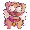 Cute Pug Holding A Bone With Mouth Icon
