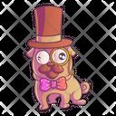 Cute Pug Wearing Hat Icon