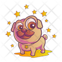 Cute Pug With Stars Icon