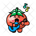 Cute Tomato Playing Guitar Icon