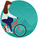 Cycle Riding Bicycling Girl On Cycle Icon