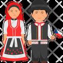 Czech Republic Couple Czech Outfit Czech Clothing Icon