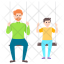 Dad Son Fatherhood Fun Activity Icon