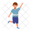 Happy Playful Dancing Boy Cheerful Preschooler Icon