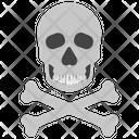 Dangerous Human Skull Crossbones Icon