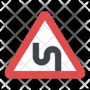 Dangerous Curve Sign Icon