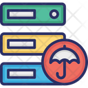 Data Storage With Umbrella Icon
