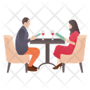 Dating Couple Meeting Drinking Wine Icon
