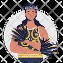 Dayak Kalimantan Borneo Women Icon
