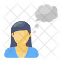 Thinking Female Thinking Person Person Thoughts Icon