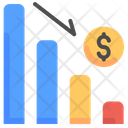 Decrease Analytics Currency Icon
