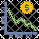 Decrease Graph Statistic Icon