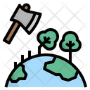 Deforestation Forest Axe Icon