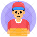 Food Service Delivery Boy Pizza Boy Icon
