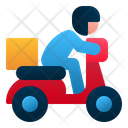 Delivery Man Motorcycle Delivery Icon