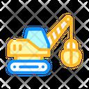 Tractor Excavator Color Icon