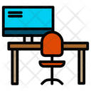 Tabletable Computer Working Place Icon