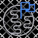 Globe Flag Pin Icon