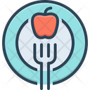 Diet Fork Apple Healthy Nutritionist Dietician Healthcare Food Breakfast Icon