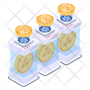 Bitcoins Boxes Cryptocurrency Boxes Digital Coins Boxes Icon