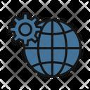 Digital Marketing Cogwheel Worldwide Icon