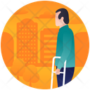 Crutches Handicap Disabled Person Icon