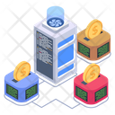 Crypto Connection Distributed Network Distributed Bitcoin Network Icon